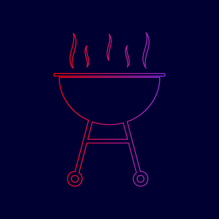 Barbecue simple sign. Vector. Line icon with gradient from red to violet colors on dark blue background.