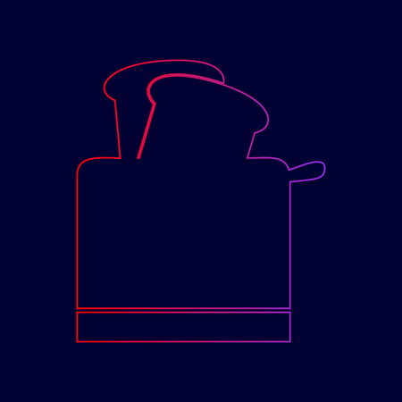 Toaster simple sign. Vector. Line icon with gradient from red to violet colors on dark blue background. Illustration