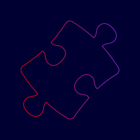 Puzzle piece sign. Vector. Line icon with gradient from red to violet colors on dark blue background.