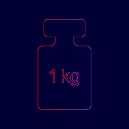 Weight simple sign. Vector. Line icon with gradient from red to violet colors on dark blue background. Illustration