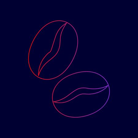 Coffee beans sign. Vector. Line icon with gradient from red to violet colors on dark blue background. Illustration