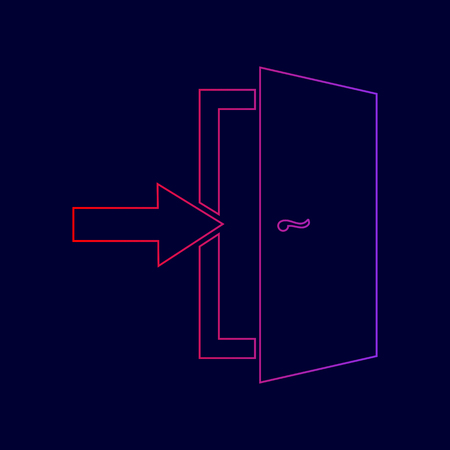 Door Exit sign. Vector. Line icon with gradient from red to violet colors on dark blue background.