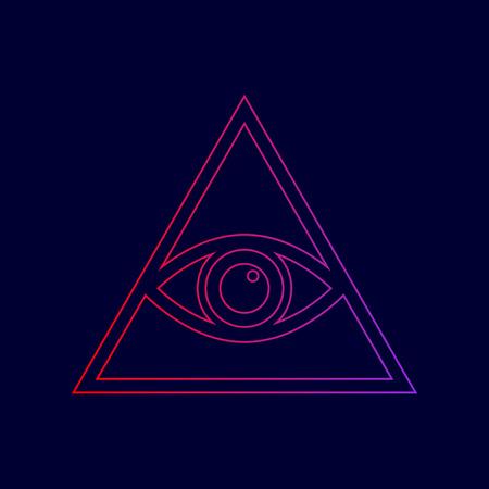 110bbf5922e9f Foto de archivo - Todos viendo el símbolo de la pirámide del ojo.  Francmasón y espiritual. Vector. Icono de línea con degradado de rojo a  violetas colores ...