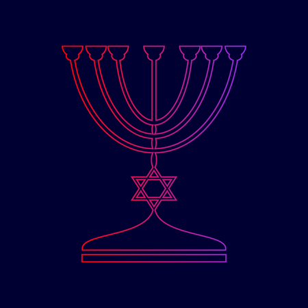 Jewish Menorah candlestick in black silhouette. Vector. Line icon with gradient from red to violet colors on dark blue background.