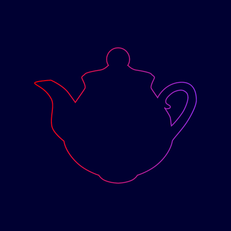 Tea maker sign. Vector. Line icon with gradient from red to violet colors on dark blue background. Иллюстрация