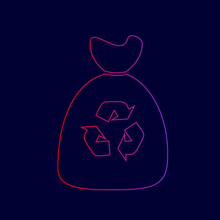 Trash bag icon. Vector. Line icon with gradient from red to violet colors on dark blue background. Illustration