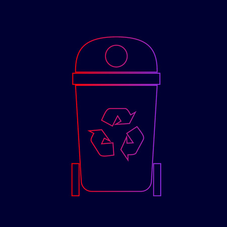 Trashcan sign illustration. Vector. Line icon with gradient from red to violet colors on dark blue background.