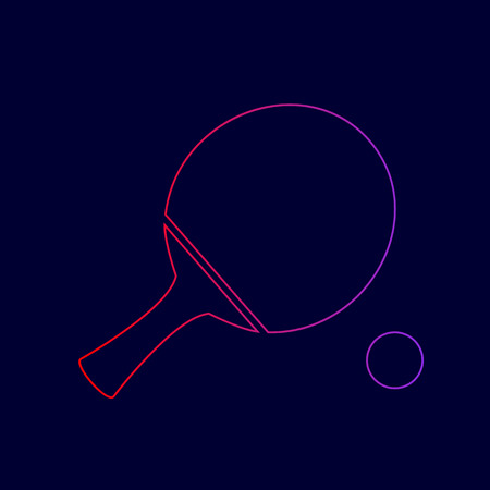 Ping pong paddle with ball. Vector. Line icon with gradient from red to violet colors on dark blue background.