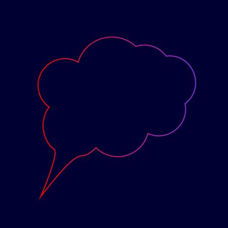 Speach bubble sign illustration. Vector. Line icon with gradient from red to violet colors on dark blue background.