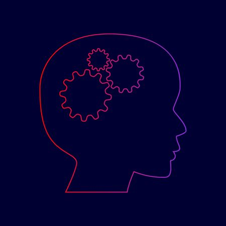 Thinking head sign. Vector. Line icon with gradient from red to violet colors on dark blue background. Illustration