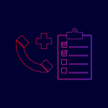 Medical consultration sign. Vector. Line icon with gradient from red to violet colors on dark blue background. Ilustrace