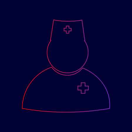 Doctor sign illustration. Vector. Line icon with gradient from red to violet colors on dark blue background.