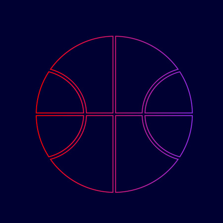 Basketball ball sign illustration. Vector. Line icon with gradient from red to violet colors on dark blue background.