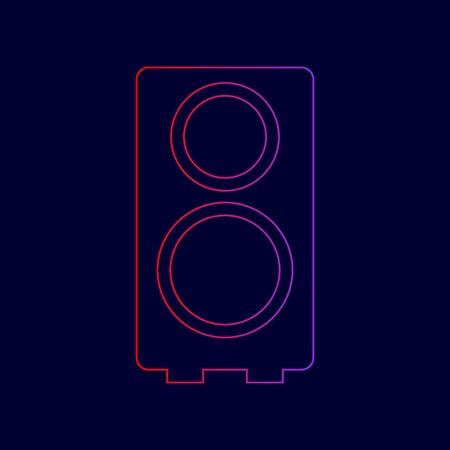 Speaker sign illustration. Vector. Line icon with gradient from red to violet colors on dark blue background.