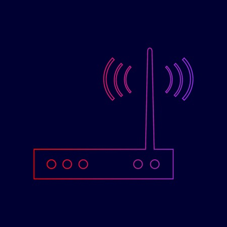 Wifi modem sign. Vector. Line icon with gradient from red to violet colors on dark blue background.