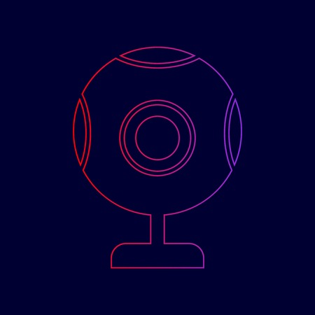 Chat web camera sign. Vector. Line icon with gradient from red to violet colors on dark blue background.