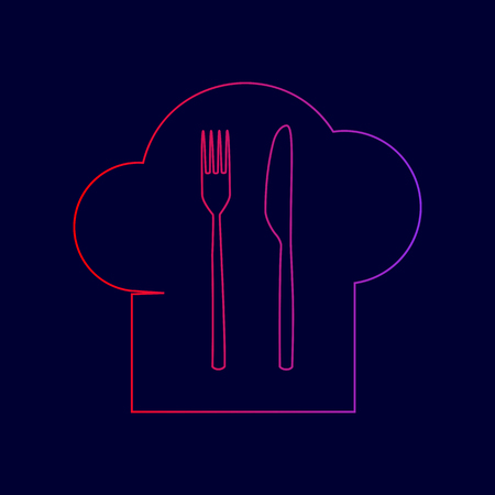 Chef hat and spoon, fork, knife sign. Vector. Line icon with gradient from red to violet colors on dark blue background. Illustration