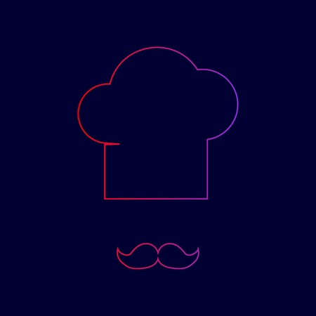 french culture: Chef hat and moustache sign. Vector. Line icon with gradient from red to violet colors on dark blue background. Illustration