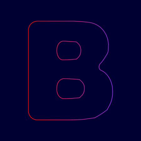 Letter B sign design template element. Vector. Line icon with gradient from red to violet colors on dark blue background.