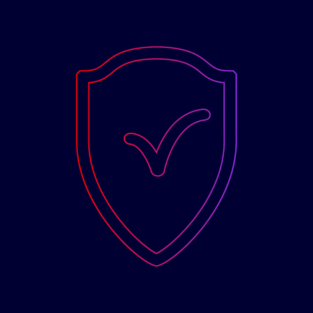 Shield sign as protection and insurance symbol Vector. Line icon with gradient from red to violet colors on dark blue background.