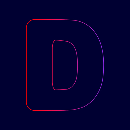 Letter D sign design template element. Vector. Line icon with gradient from red to violet colors on dark blue background.
