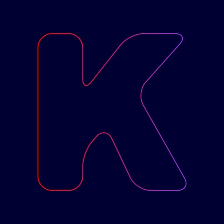 Letter K sign design template element. Vector. Line icon with gradient from red to violet colors on dark blue background. Illustration