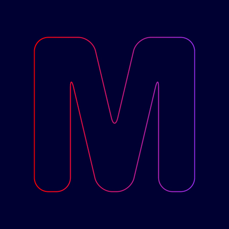 Letter M sign design template element. Vector. Line icon with gradient from red to violet colors on dark blue background.