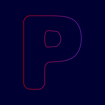 Letter P sign design template element. Vector. Line icon with gradient from red to violet colors on dark blue background. Illustration