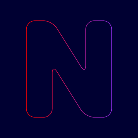 Letter N sign design template element. Vector. Line icon with gradient from red to violet colors on dark blue background. Illustration