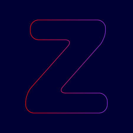Letter Z sign design template element. Vector. Line icon with gradient from red to violet colors on dark blue background.