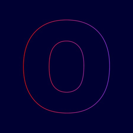 Letter O sign design template element. Vector. Line icon with gradient from red to violet colors on dark blue background.