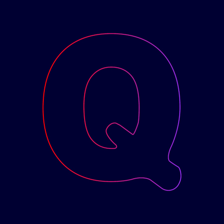Letter Q sign design template element. Vector. Line icon with gradient from red to violet colors on dark blue background. Illustration