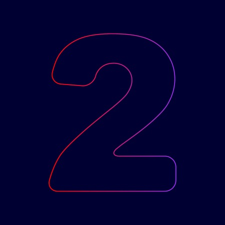 Number 2 sign design template elements. Vector. Line icon with gradient from red to violet colors on dark blue background. Illustration