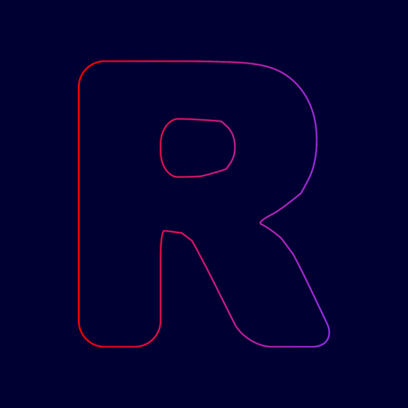 Letter R sign design template element. Vector. Line icon with gradient from red to violet colors on dark blue background.