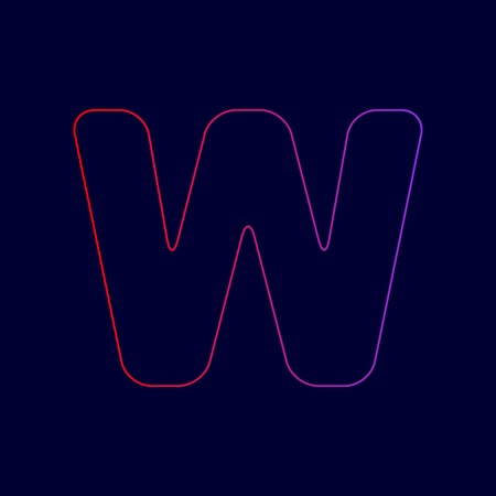 Letter W sign design template element. Vector. Line icon with gradient from red to violet colors on dark blue background.