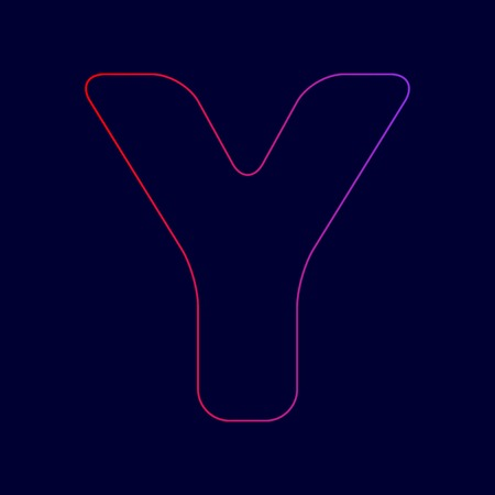 Letter Y sign design template element. Vector. Line icon with gradient from red to violet colors on dark blue background.