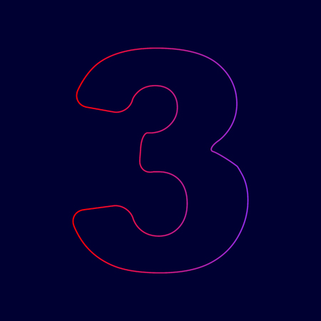 Number 3 sign design template element. Vector. Line icon with gradient from red to violet colors on dark blue background.