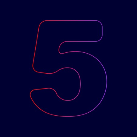 Number 5 sign design template element. Vector. Line icon with gradient from red to violet colors on dark blue background.