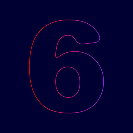 Number 6 sign design template element. Vector. Line icon with gradient from red to violet colors on dark blue background.