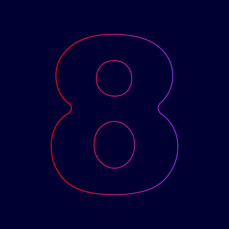 Number 8 sign design template element. Vector. Line icon with gradient from red to violet colors on dark blue background. Illustration
