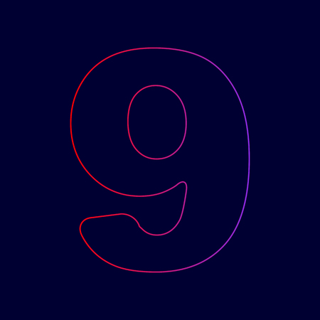Number 9 sign design template element. Vector. Line icon with gradient from red to violet colors on dark blue background. Illustration