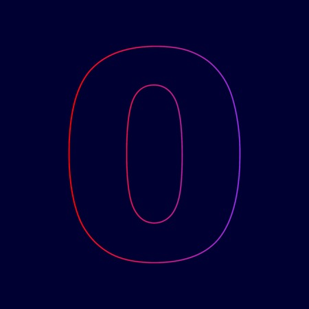 Number 0 sign design template element. Vector. Line icon with gradient from red to violet colors on dark blue background.