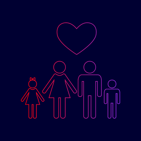 Family symbol with heart. Husband and wife are kept childrens hands. Love. Vector. Line icon with gradient from red to violet colors on dark blue background. Illustration