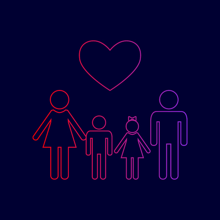 Family symbol with heart. Husband and wife are kept childrens hands. Vector. Line icon with gradient from red to violet colors on dark blue background.