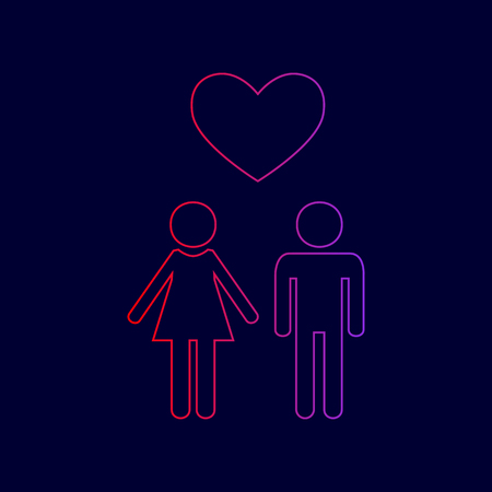 Family symbol with heart. Husband and wife are kept each other`s hands. Love. Vector. Line icon with gradient from red to violet colors on dark blue background.