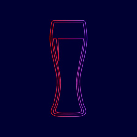 Beer glass sign. Vector. Line icon with gradient from red to violet colors on dark blue background. Illustration