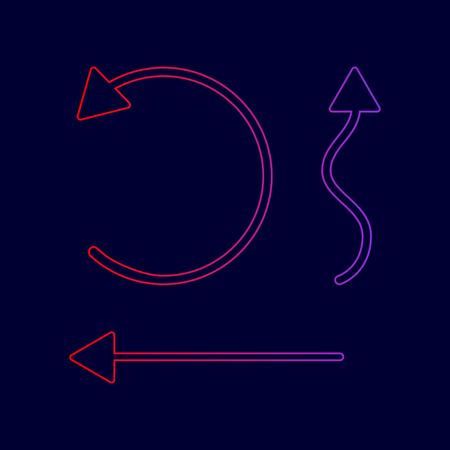 Simple set to Interface Arrows Vector. Line icon with gradient from red to violet colors on dark blue background. Illustration