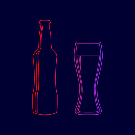 Beer bottle sign. Vector. Line icon with gradient from red to violet colors on dark blue background.