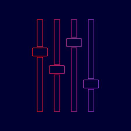 Adjustment music line sign. Vector. Line icon with gradient from red to violet colors on dark blue background. Illustration