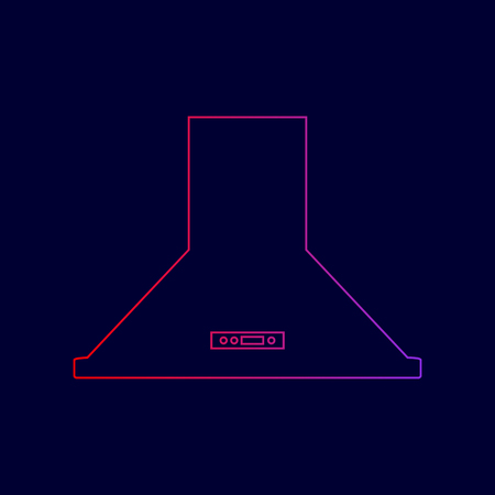 Exhaust hood. Kitchen ventilation sign. Vector. Line icon with gradient from red to violet colors on dark blue background.